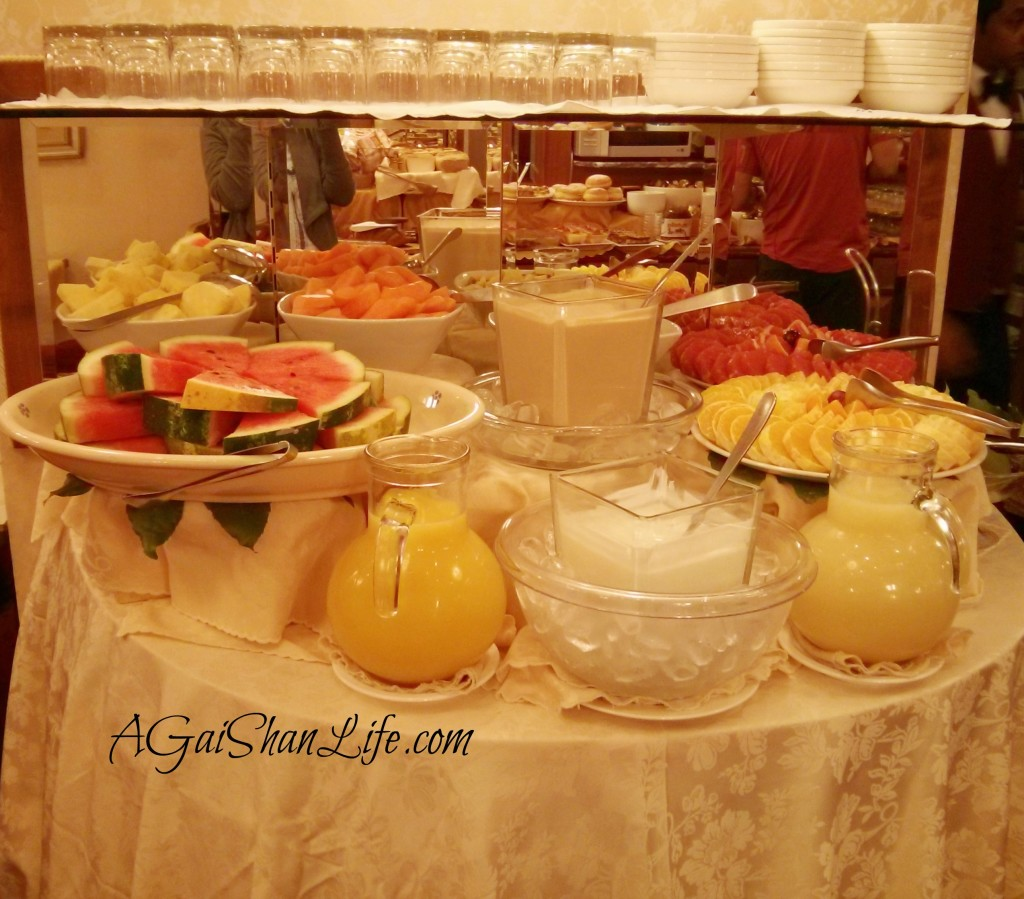 One of four buffet tables for breakfast