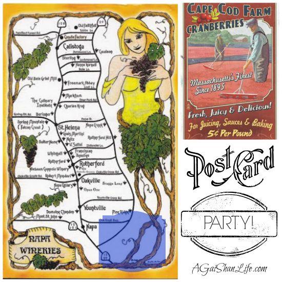 Postcards: Map of Napa wineries, Cape Cod Farm Cranberries