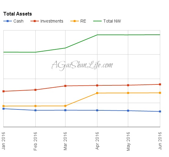 Our total assets growth lines: There was a jump due to updating our primary residence's assessed value. Everything else grows slowly and steadily.