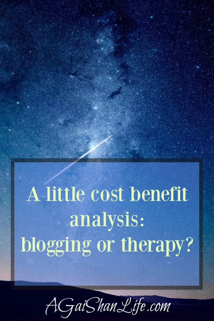 A little cost benefit analysis between blogging or therapy